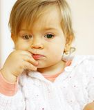 Small baby thinking. Small baby is thinking about something Royalty Free Stock Photos