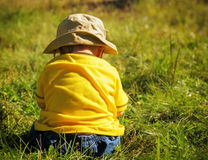 A Private Moment. A small baby or toddler sitting in the grass during late afternoon with his/her back facing the camera stock images