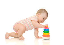 Small baby with toy pyramid #5 isolated Royalty Free Stock Image