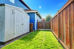 Small backyard area with shed Stock Image