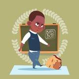 Small Bad School Boy Standing Over Class Board Hooligan Schoolboy Education Banner Royalty Free Stock Image