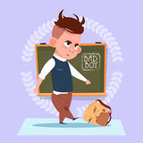 Small Bad School Boy Standing Over Class Board Hooligan Schoolboy Education Banner Stock Photos