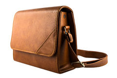 Small bag brown leather isolated Royalty Free Stock Image