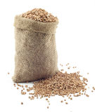 A small bag of buckwheat Stock Photo