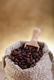 A small bag of coffee with scoop Royalty Free Stock Photos