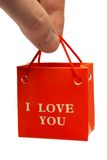 Small bag in hand Stock Image