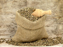 Small bag with hemp seeds Royalty Free Stock Image