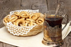 Small bagels. With poppy seeds in a wicker basket Shallow DOF stock photography