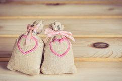Small bags with embroidered. Royalty Free Stock Photo