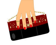 Small bags for your phone and a female hand Royalty Free Stock Images