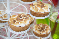Small baked meringue pies with crust Royalty Free Stock Photo