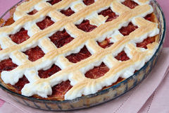 Small baked pie with red jam Stock Images