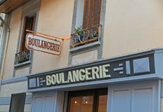 French boulangerie or bakery. A small bakery in a village in the south of France Royalty Free Stock Photo