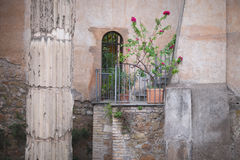 A small balcony. With flowers in pots in a medieval building. Rome, Italy Royalty Free Stock Photos