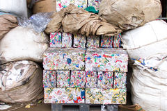 Small bales of compacted cans. For recycling Stock Photos
