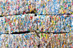 Small bales of compacted cans Royalty Free Stock Photos
