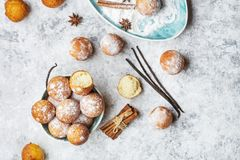 Small balls cottage cheese doughnuts in powdered sugar. Homemade small balls cottage cheese doughnuts in powdered sugar royalty free stock photography