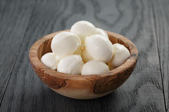 Small balls of mozzarella in bowl Royalty Free Stock Image