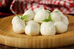 Small balls mozzarella cheese with basil Stock Photography