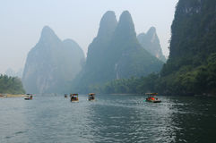 Bamboo Rafts On Li River Royalty Free Stock Image