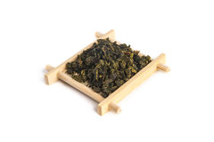 Small bamboo serving tray with Tie Guan Yin Oolong tea Stock Image