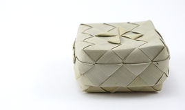 Small bamboo woven box in Asian style isolated Royalty Free Stock Photography