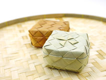 Small bamboo woven box in Asian style isolated Stock Image