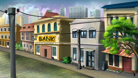 A small bank on the city street. Royalty Free Stock Images