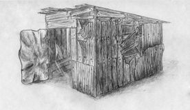 Small barn 2 sketch. Pencil drawn sketch of a small wooden barn with a heavy metal door Stock Images