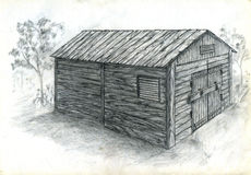 Small barn sketch. Pencil drawn sketch of a small wooden barn Royalty Free Stock Photography