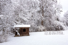 Small Barn in snow Royalty Free Stock Photography