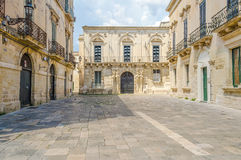 Small baroque square in central Lecce, Salento, Italy Royalty Free Stock Photography