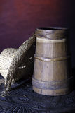 Small barrel with hat Royalty Free Stock Photography
