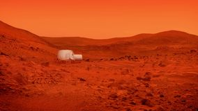 Small Base On Mars In Dust Storm