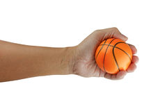 Small basket ball on hand isolated on white with clipping path Royalty Free Stock Photo