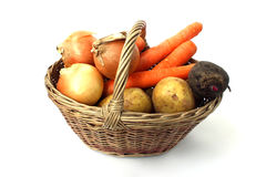 A small basket of different vegetables Royalty Free Stock Images