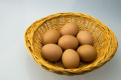 The small basket and egg. The small basket filled with egg, small basket are handmade, very beautiful Stock Photography