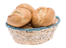 Small basket filled with buns on white Royalty Free Stock Photos