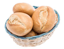 Small basket filled with buns on white Royalty Free Stock Photo