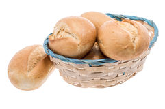 Small basket filled with buns on white Stock Images