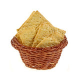 Stone Ground Wheat Crackers Basket Royalty Free Stock Photo