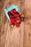 Small basket of fresh strawberries Stock Photos