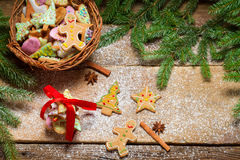 Small basket full of gingerbread cookies for Christmas Stock Image