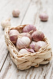 Small basket with garlic Stock Photography