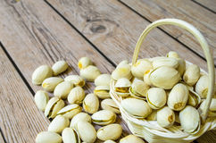 Small basket of pistachios. Pistachio nuts in a small white basket Royalty Free Stock Photo