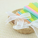 Small basket. With with ribbon and paper pastel color Royalty Free Stock Images