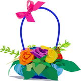 Small basket with roses Stock Photo