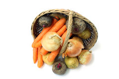 A small basket of vegetables Stock Images