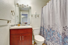 Small bathroom with full bath shower. Stock Photo
