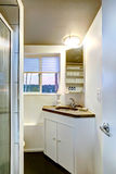 Small bathroom interior with cabinet Stock Photo